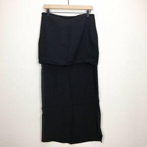 Line & Dot Revolve Black Hi-Low Silk Skirt Medium
